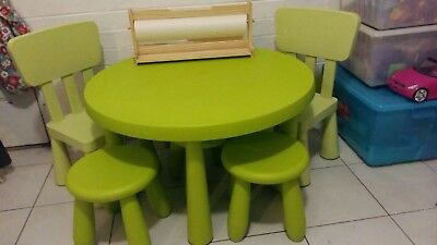 IKEA mammut round table, chairs & stools green
