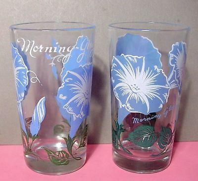 """Two 5"""" Boscul Peanut Butter Glasses MORNING GLORY w Top and Bottom Names VGC"""