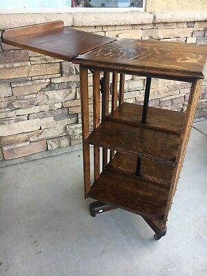 Antique Tiger Oak Carousel/revolving Bookcase - Mission Style