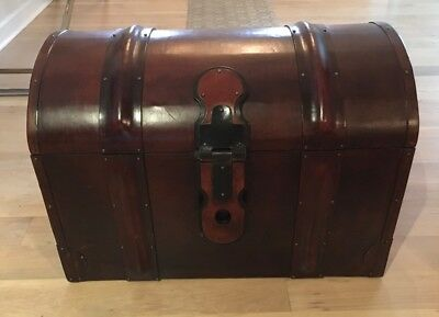 """Vintage WESLEY BOBER Hand-Crafted All Leather Trunk; 33"""" (W) x 23"""" (H) x 20"""" (D)"""
