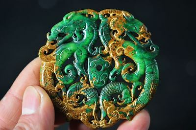 Exquisite Chinese old green jade Carved *dragon/Phoenix* pendant  D59