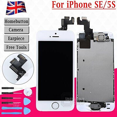 For iPhone SE 5S LCD Display Touch Screen Digitizer Assembly Replacement  White