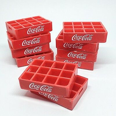 2 Soda Coca Coke Crates Tray Case Dollhouse Miniatures Wholesale Set Mini