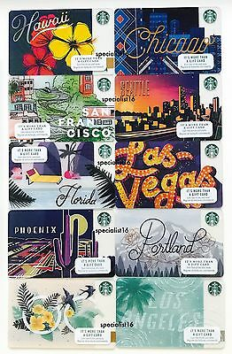 2017 Starbucks Card Lot Set San Francisco Hawaii Chicago OC LA Seattle