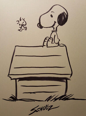 Charles Schulz Original Ink Hand Drawing Snoopy, Charlie Brown, peanuts signed