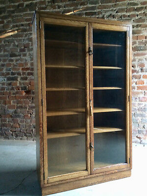Sublime Bookcase Cabinet Golden Oak Antique Glass Two Door Early 20th Century