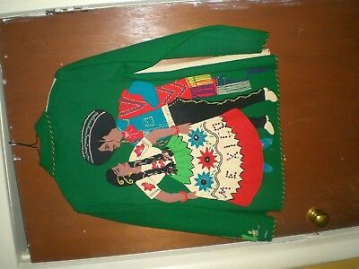 Vtg.  50's Mexican Embroidered Wool / Felt Souviner Ladies  Jacket With DANCERS