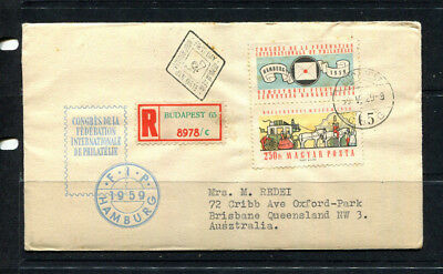 Hungary 1959 Fdc Stamp Cover Registered Post Budapest To Australia Lot 301