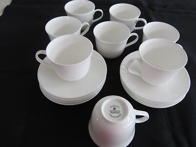 Royal Doulton white SIgnature cups & saucers x 8 NEW