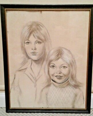 """Vintage 1975 70's Original Charcoal Woman and Daughter 17"""" x 21"""""""
