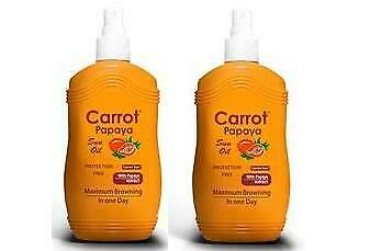 Carrot Sun Australia Papaya Tanning Oil 200ml Duo Pack Accelorators