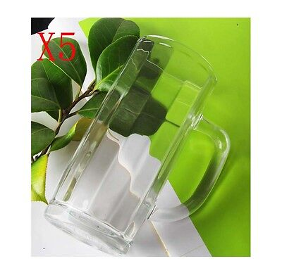 New 5X Capacity 380ML Height 150MM With A Handle Beer Wine Glass/Glassware %