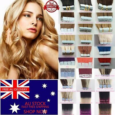 "7A 16"" Tape In 100% Remy Human Hair Extensions Real Thick Seamlees AU Stock DIY"