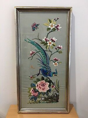 Vintage Hand Embroidered Bird and Flowers Art, Picture