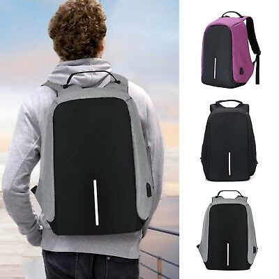 Unisex Anti-Theft Backpack Laptop USB Port Charger Travel School Rucksack Bags