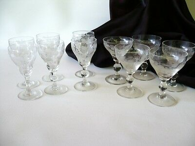 Antique Vintage 11 Etched Floral Bohemian Glass Port & Sherry Glasses