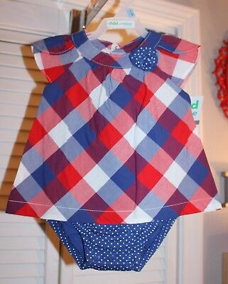 Baby Girls 3-6 Months Red White & Blue Checkered & Polka Dotted Romper-NEW