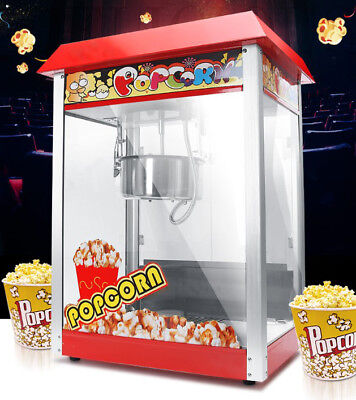 New Red Commercial Popcorn Automatic Non Stick Pan High Capacity Popcorn Machine