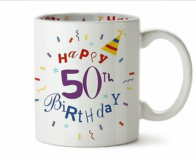 Happy 50th Birthday Gifts For Him Her Printed Coffee Mug Gift Boxed Present