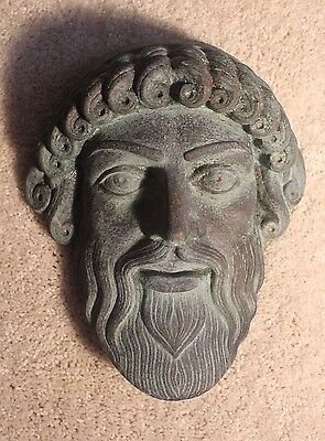 Old Greek Roman Mask Zeus Poseidon Bronze God Plaque Apollo Dionysus Athena Rare