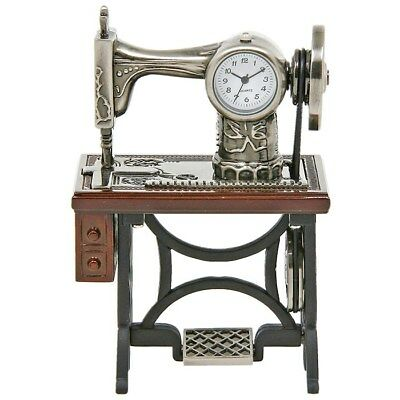 Miniature Old Sewing Machine Techno Novelty Collectors Clock Present Gift 0460