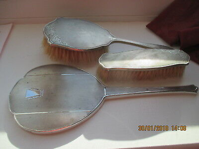 ART DECO  SILVER HAND MIRROR  AND 2 BRUSHES   ABOUT 1930s