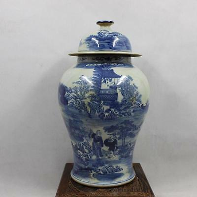Chinese Qing dynasty Blue&white porcelain Manual drawing *Figure/landscape* pot