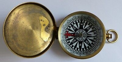 Fine Quality Brass Compass - Full Hunter Case - Enamelled Dial
