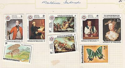 MALDIVES ISLANDS COLLECTION  American Rev on Old book Pages, as per scan, USED #