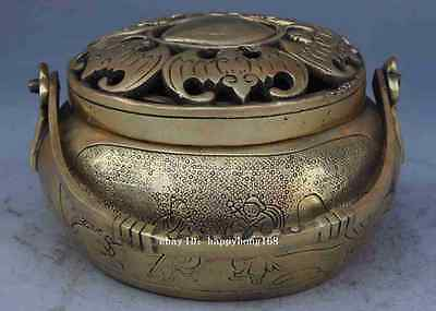Chinese Palace Brass Wealth 5 Bat Statue Incense Burner Censer Marked