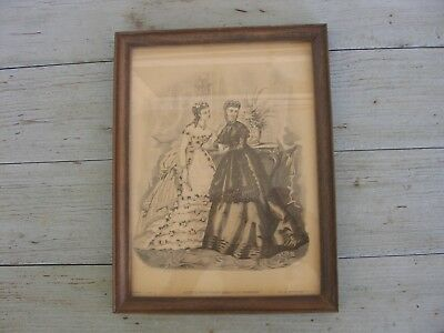 Antique Lithograph Fashion Godey's Unrivaled American Fashions 1868 Victorian