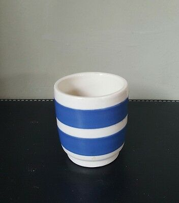 Vintage Cornish Blue Style 1950/60's  Ironstone Blue and White Striped Egg Cup