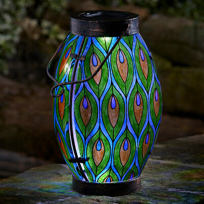 38Cm Solar Powered Outdoor Garden Patio Stained Glass Peacock Led Lantern Light