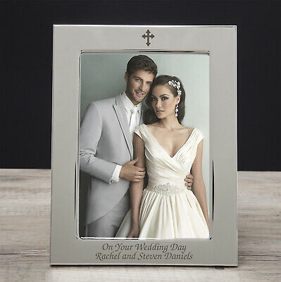 """Personalised Silver Plated Photo Picture Frame 5/"""" x 7/"""" Engraved Gift New Baby"""