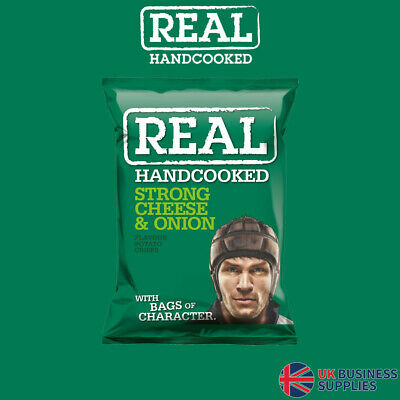 Real Crisps Hand Cooked Strong Cheese & Onion Flavour 24 x 35g