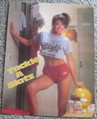 Rare Nos Vintage 1987 Blatz Beer Sexy Football Girl Sports Advertising Poster
