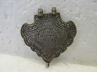 Ayaat Quran Scripted Tribal Islamic Muslim Silver Amulet Pendant Necklace 1824
