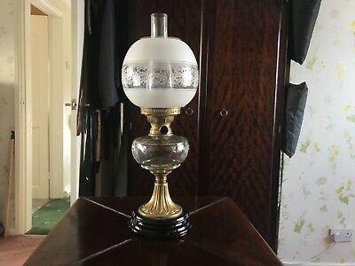 Victorian Cut Glass Kerosene Paraffin oil lamp art nouveau