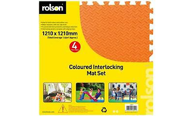 Rolson 4pc Kids Eva Foam Coloured Interlocking Floor Play Mat Set 1.2x1.2m