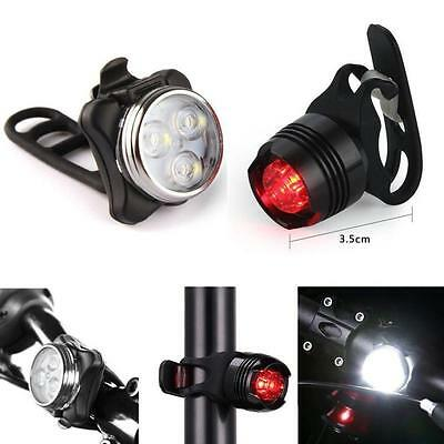 Rechargeable LED Bike Light Bicycle Lamp Set Front Light Tail Light USB E F
