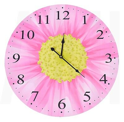Cute 58cm Extra Large Round Pink Flowers Floral Wall Clock Wooden Bedroom Home