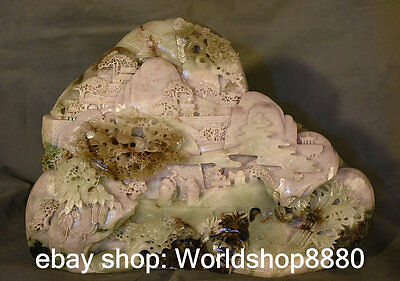 "16"" Chinese Natural Dushan Jade: Old Man Mountain Scenery Pavilion Decoration"