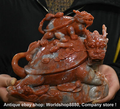 "8"" Chinese Natural Shoushan Stone Carving Dragon Tortoise Baby Longevity Statue"