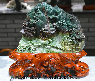 "12"" Fine Natural 100% Dushan Green Jade Carved House Landscape Mountain Statue X"