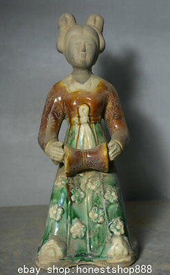 "9.2"" China Dynasty Tang Sancai Pottery Porcelain Belle Beauty Musician Sculpture"