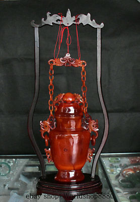 "21"" 【Boutique】New China Red Agate Carving Dragon Ear Bat Chain Hang Vase Bottle"