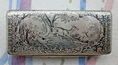 Antique French Silver with Black Niello Hunting Scene Snuff Box