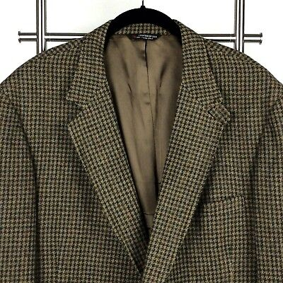 Orvis Sport Coat Men's 48 L Brown Wool Check Half Belt Elbow Patches USA