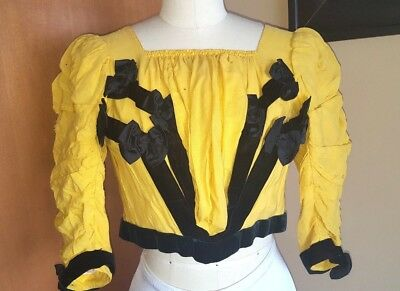 Victorian antique blouse silk black velvet yellow 1800's bone in top