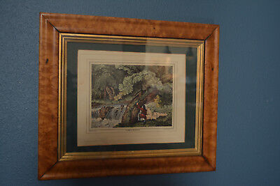 Rare 1810 Birdseye Maple Oee Picture Frame Gold Gilt Liner With Sports Print